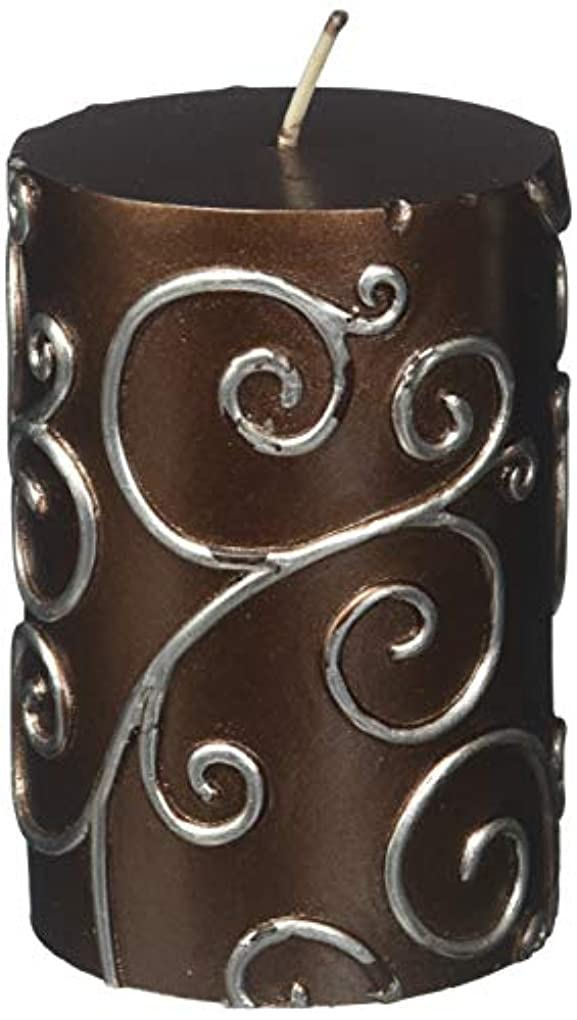 啓発する沿って実現可能Zest Candle CPS-005-12 3 x 4 in. Brown Scroll Pillar Candle -12pcs-Case- Bulk