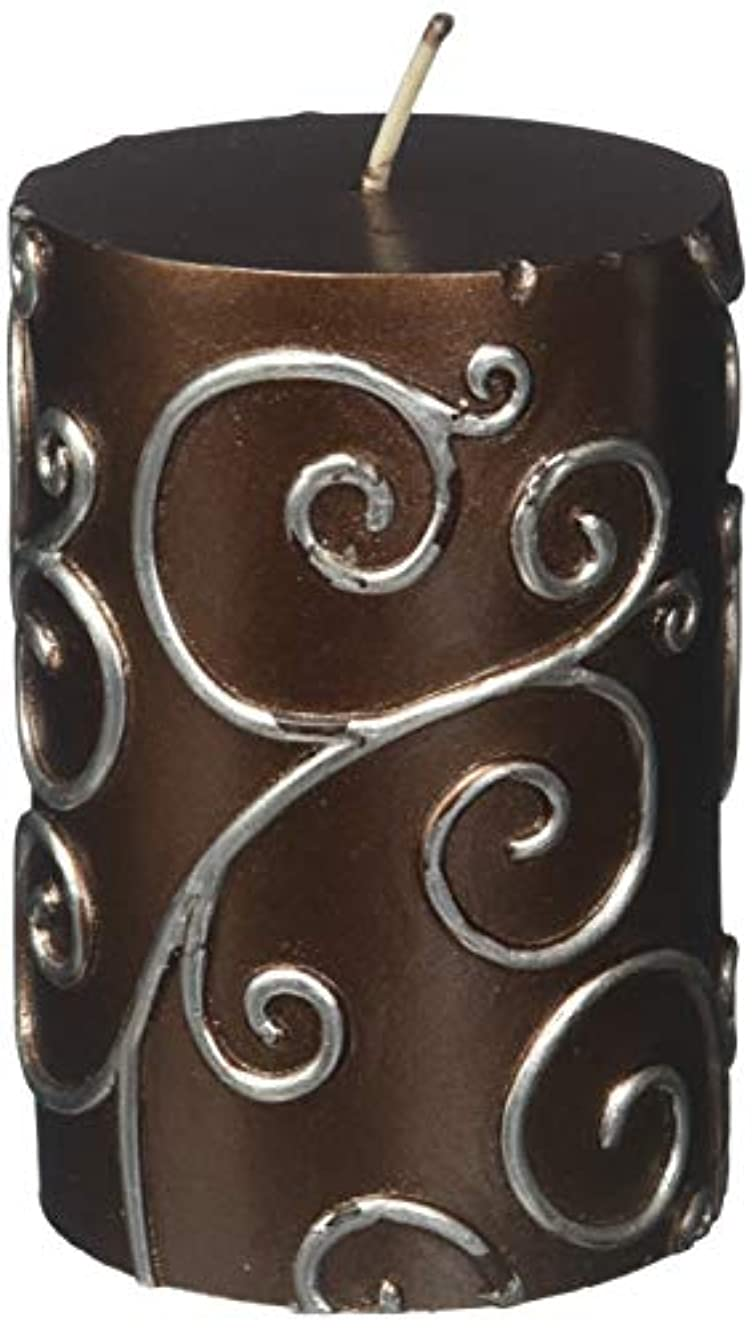 幼児チャレンジホットZest Candle CPS-005-12 3 x 4 in. Brown Scroll Pillar Candle -12pcs-Case- Bulk