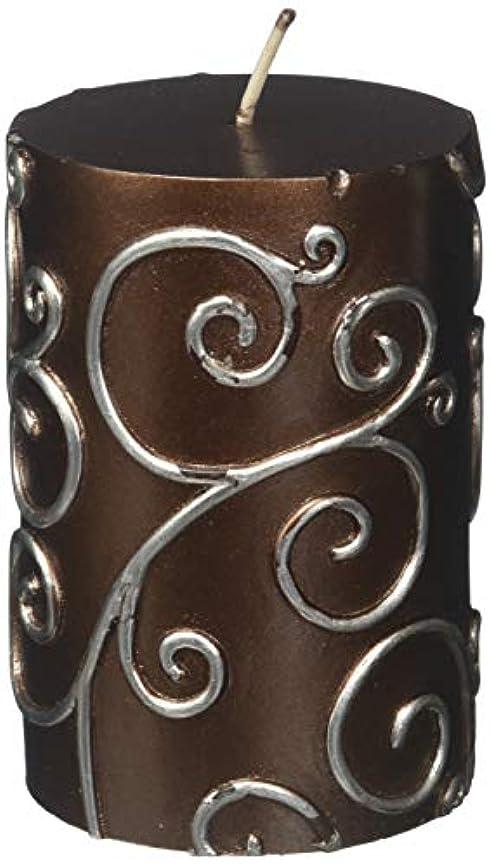 定規吸収焼くZest Candle CPS-005-12 3 x 4 in. Brown Scroll Pillar Candle -12pcs-Case- Bulk