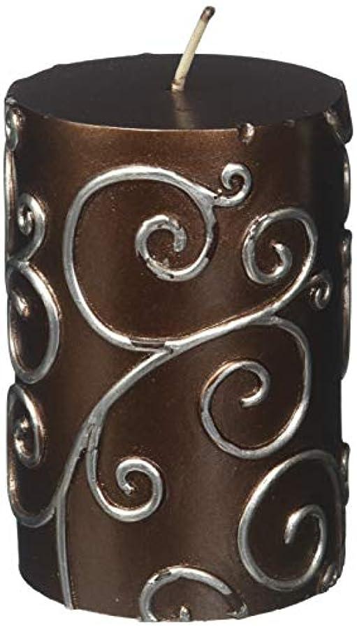 フィクションバランスカードZest Candle CPS-005-12 3 x 4 in. Brown Scroll Pillar Candle -12pcs-Case- Bulk