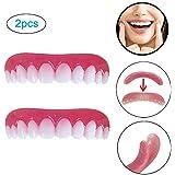 2枚の歯科用化粧板が歯の化粧化粧板の上部にぴったり合うサイズがすべての義歯の接着剤の歯に似ています偽の歯の笑顔