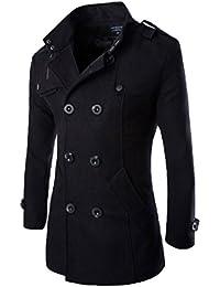 Elonglin トレンチコート メンズ コート ハーフコート ウール ダブルボタン ファッション カジュアル ビジネス 秋 冬 防寒 大きいサイズ ブラック