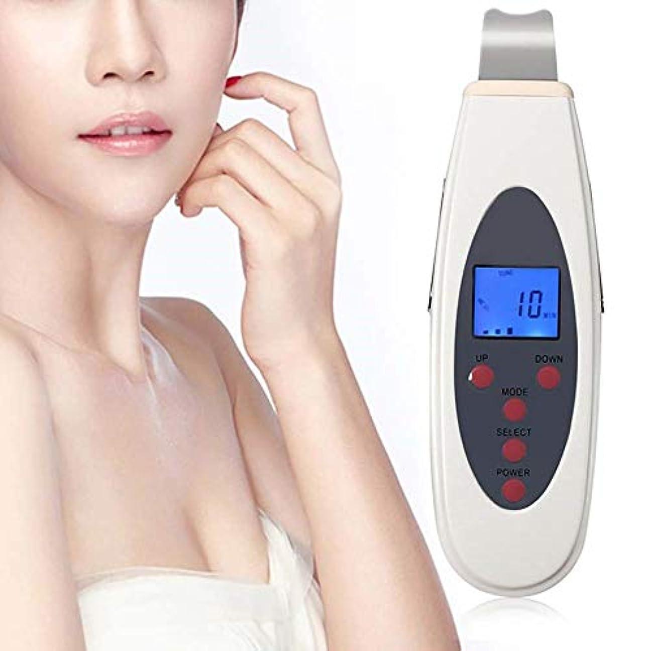 冷笑するそばに施設顔の皮膚スクラバー、スキンケア男性女性のためのデジタル顔LCDディスプレイフェイスエクスフォリエイティング美容機器顔の美容機超音波スキンスクラバーポータブルスキンスクラバースキンクリーナー
