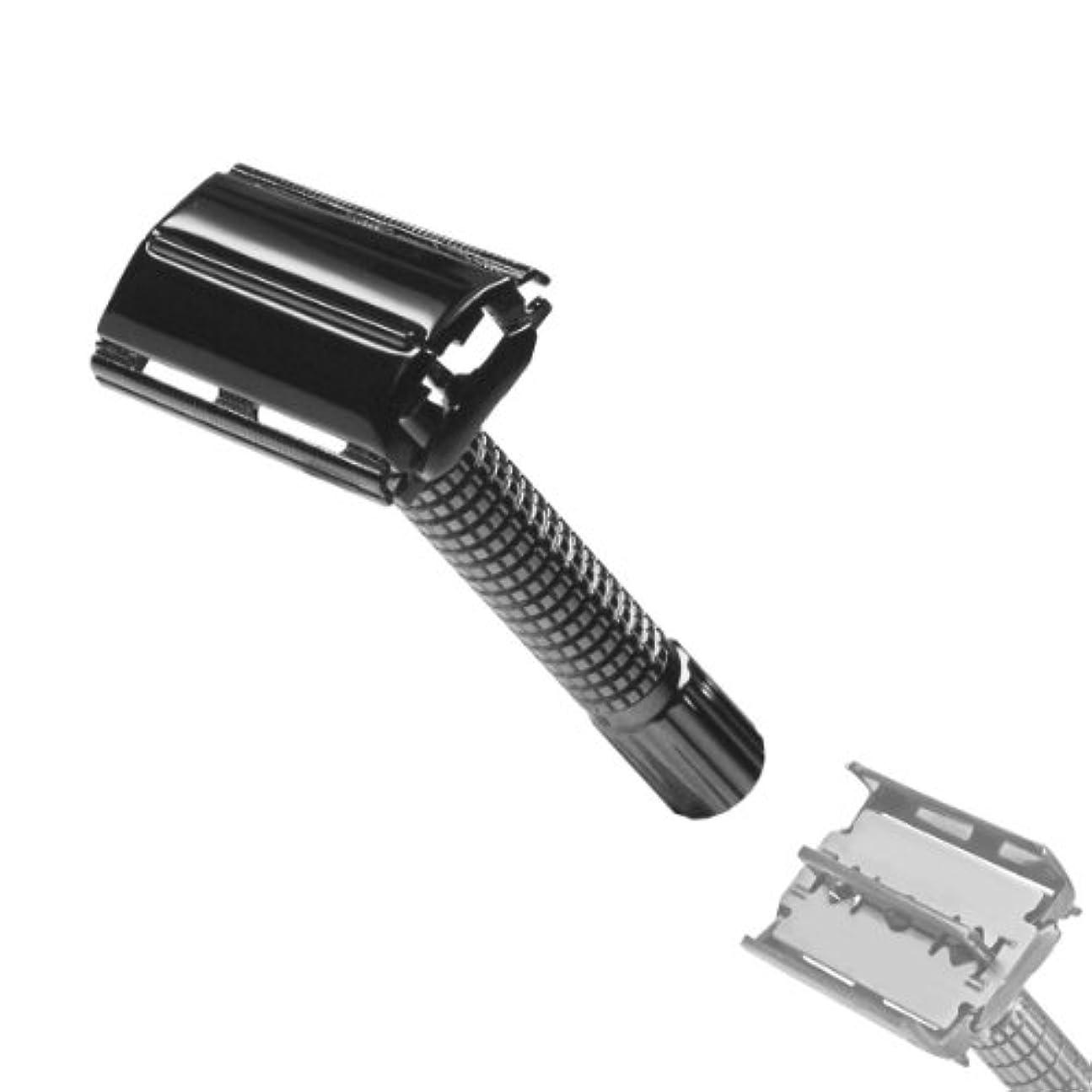 推進、動かす説明ヒロイックRAZOLUTION TwinTop Safety razor, Butterfly system, black chrome, 8 cm