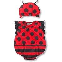 かわいい赤ちゃんベビー服 面白いロンパース 男女兼用 綿100% 夏にぴったり柔らかな肌触り 帽子付き 全10種デザイン有り てんとう虫飛んでる9313 1歳~1.5歳