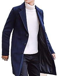 [ベンケ] コート メンズ チェスターコート 秋冬 ウール ロング ジャケット スリム 厚手 無地 暖かい 防寒 ビジネス 紳士服 M~2XL