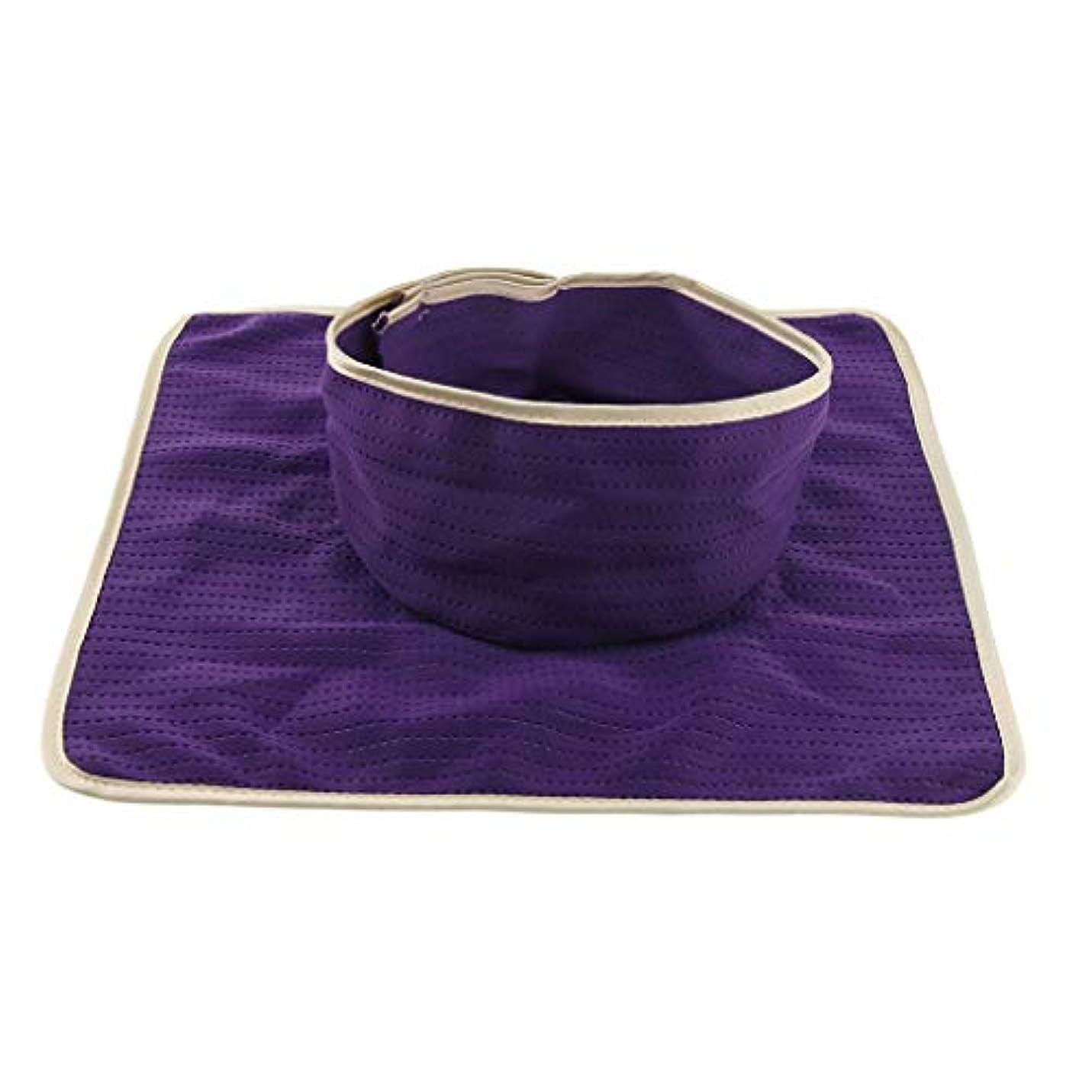 プレート楕円形つぶやきマッサージのベッド用 パッド マットシート 顔の穴付き 洗える 約35×35cm 全3色 - 紫