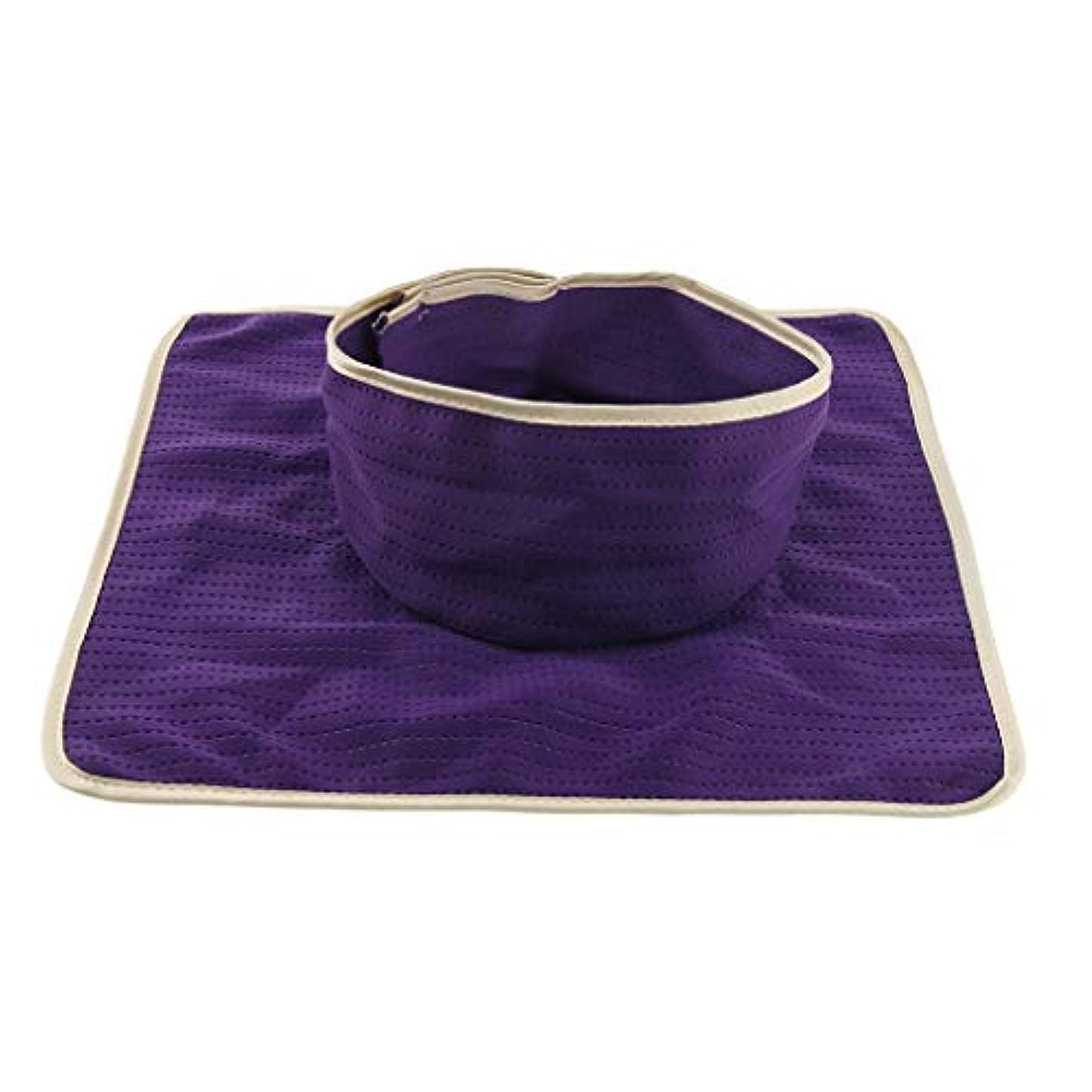楽観遺伝的拒絶するマッサージのベッド用 パッド マットシート 顔の穴付き 洗える 約35×35cm 全3色 - 紫