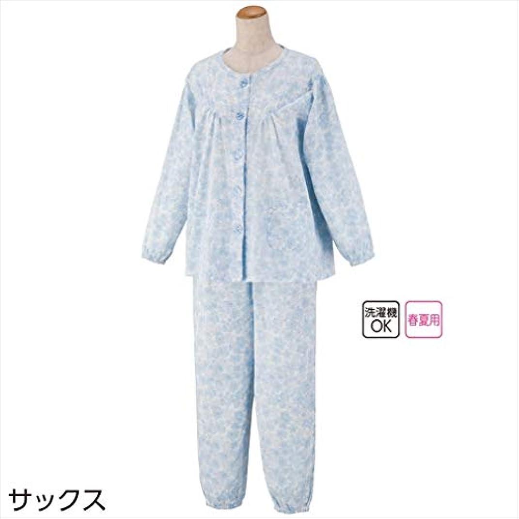怠な月曜日シェル大きめボタン楊柳プチサイズパジャマ(婦人) サックス L 89602-12