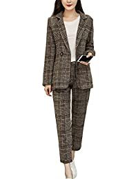 [美しいです] スーツ 洋服 レディース コート 二点セット ビジネス 九分パンツ セット 春 秋 ウエスト締める スリム スプライス