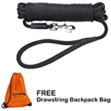 lynxking Check Cord Long Dog Training Leash Tracking Line Heavy Duty Puppy Rope Lead for Small Medium Large Dogs (30 feet x 3/8 in, Black)