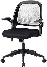 【Amazon.co.jp限定】Hinces by OSJ デスクチェア ホワイトメッシュ跳ね上げ式アームレスト120度ロッキング肘掛け椅子 キャスター付き 360度回転 上下昇降機能ルミナムチェア