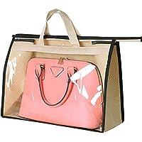 チヤミ 防塵カバー 両面 不織布 透明窓付き ハンドバッグ 防塵袋 透明 ホーム用収納袋(ベージュ XXL)