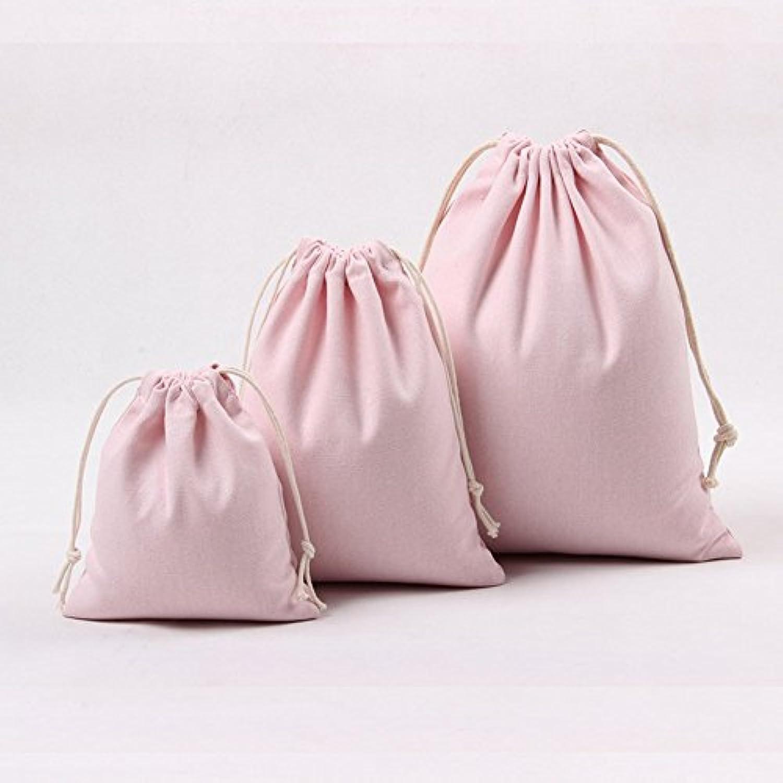 BIANHUAN 両絞り巾着袋 (大 中 小 3点セット )アクセサリーや小物入れに コップ袋 体操着袋 入園準備 にも ! (3点セット(大1 中1 小1))