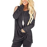 SLIMMING GRIL Women's Casual T Shirt V Neck Cold Shoulder Tops Short Sleeve Tshirt