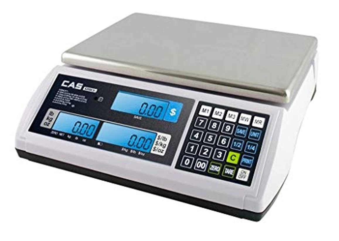 松誇り適性CAS S-2000 Jr Price Computing Scale with LCD Display 60 lbs by CAS