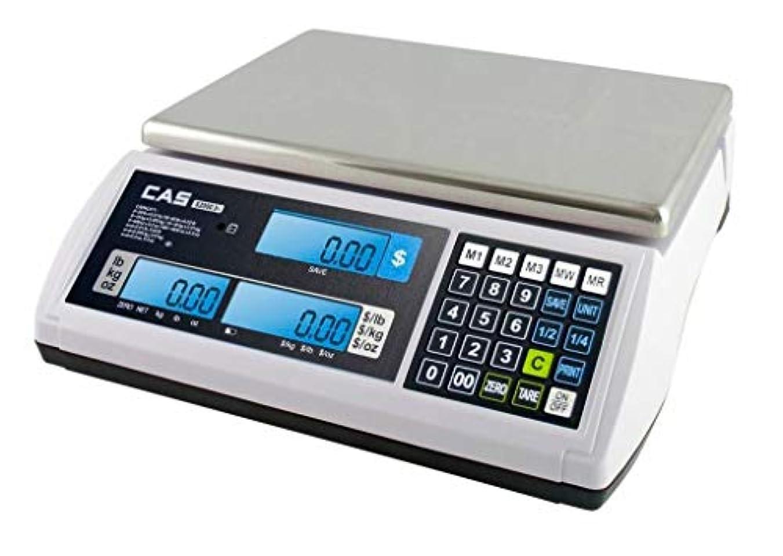 地域の動力学人形CAS S-2000 Jr Price Computing Scale with LCD Display 60 lbs by CAS