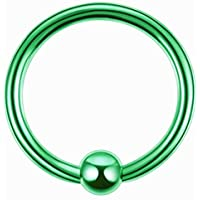 ボディピアス 10G ボディーピアス キャプティブ ビーズ リング CBR 丸型 リング クローザーリング グリーンチタンビーズリング (内径xボール)20x6mm バラ売り プレゼント 耳 人気