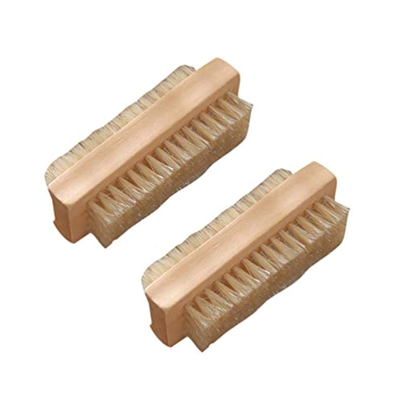 スペード改修影響力のあるLurrose 2ピースネイルブラシ両面ポータブル耐久性マニキュアブラシネイルクリーニングブラシ毛ブラシホームサロン用