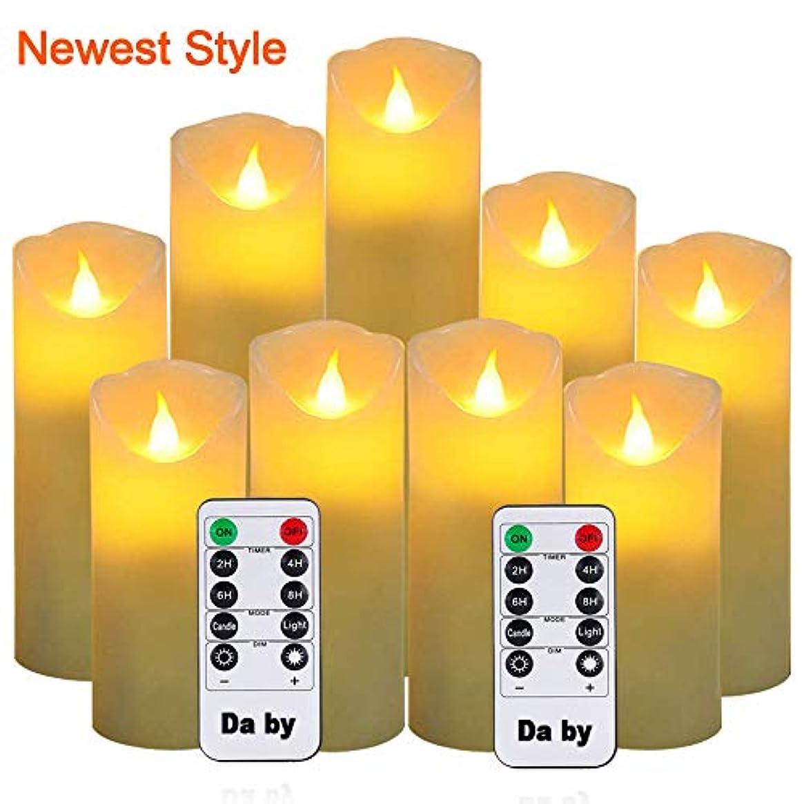 過ち着るトロリーバスDa by Flameless Candles LEDキャンドル 9個セット (高さ 5 5.5 6 7 8 9 x 奥行き 2.1インチ) アイボリー 本物のワックスバッテリーキャンドル (電池は含まれていません) リモコンタイマー2個付き