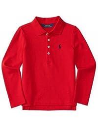 Polo Ralph Lauren(ポロラルフローレン) ポニー ガールズ ポロシャツ 長袖(白色?赤色) [並行輸入品]