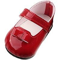 Lovoski  ドール用 きれい シューズ 靴 粘着ストラップ フラット ブーツ  17インチZapf 赤ちゃん生まれた人形対応 3色選べる - 赤