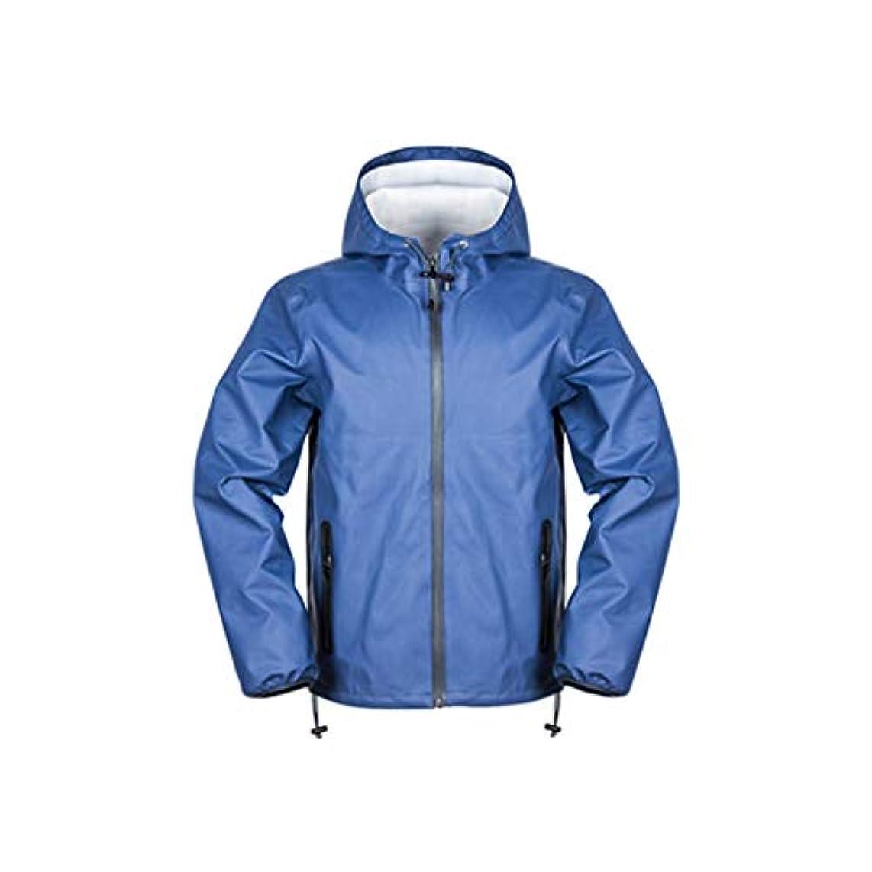 軽蔑するメイエラ借りるJTWJ レインコートレインパンツスーツメンズ厚手の防水レインコート分割大人のハイキング乗馬用レインコート(黒、青) (色 : Blue jacket, サイズ さいず : XXXL)