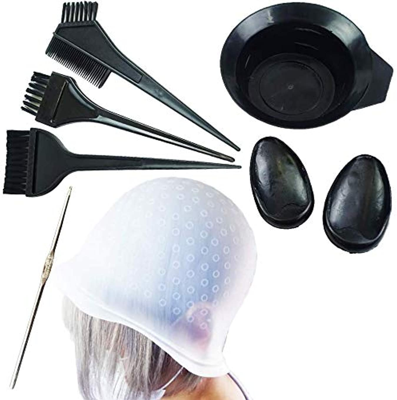 無視できるメディア服を洗う7点セットキャップ ヘアダイカップ イヤーキャップ ハイライト 毛染めセルフヘアカラーセット