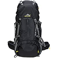 Honeytecs Waterproof Outdoor Sport Hiking Trekking Camping Travel Backpack Pack Mountaineering Climbing Knapsack with Rain Cover 50L