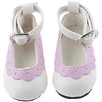 ノーブランド品 2足 1/4 BJD 人形の靴 シューズ ラウンド トウ フラット アンクル ストラップ 素晴らしい 装飾品 礼物 全8色選べ - パープル
