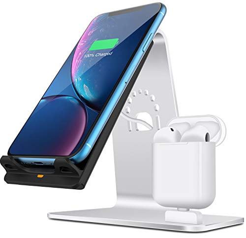 Bestand Qi ワイヤレス充電器 & Airpods充電器ワイヤレスチャージャードック ワイヤレス充電スタンド iPhone X /8 /8Plus /Galaxy /Nexus /他Qi対応機種付属 Qi 充電器(シルバー)