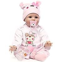 人形 リボーンベビードールソフトシミュレーションシリコーンビニールインチの55センチメートル磁気口リアルなアクリルの目でかわいい子供のおもちゃピンクのベアルーシー 6/8/10 ヶ月 赤ちゃん おもちゃReborn Baby Doll JP Christmas Gift