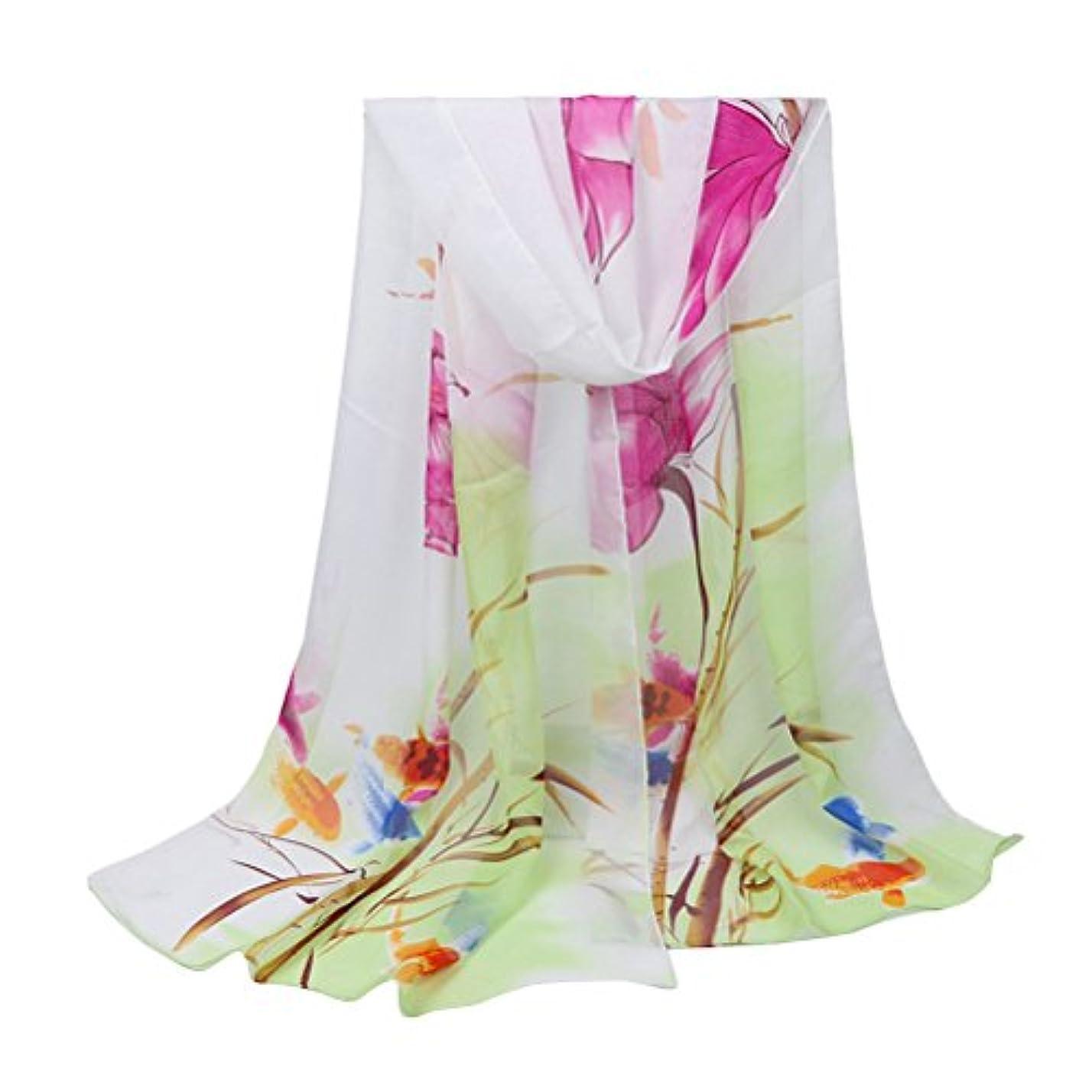 爆発する下に困惑したZhuhaitf スタイリッシュ Fashion Ladies Girls Flower Printing Chiffon Scarf Sun Shawl Beach Towel for Daily Dressed