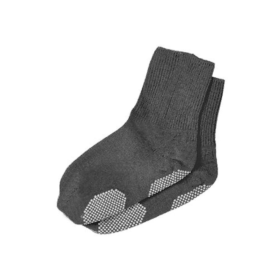 より平らな八百屋シンボルエンゼル 履き口ゆるーい靴下 すべり止め付  24-26cm グレー