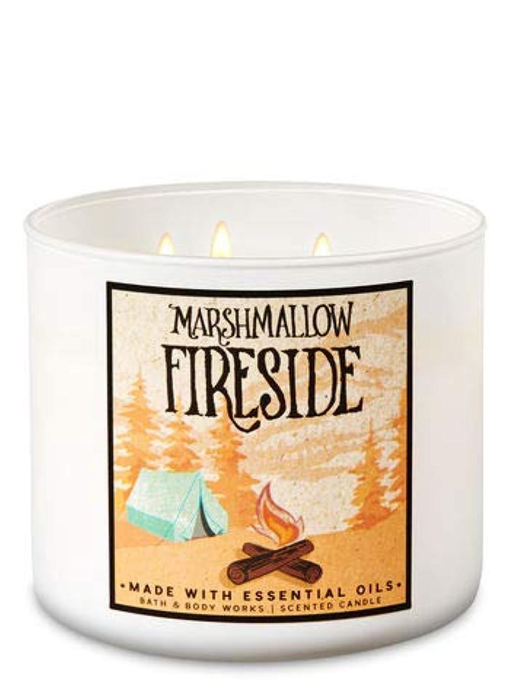 いちゃつくモチーフ汚物【Bath&Body Works/バス&ボディワークス】 アロマキャンドル マシュマロファイヤーサイド 3-Wick Scented Candle Marshmallow Fireside 14.5oz/411g [並行輸入品]