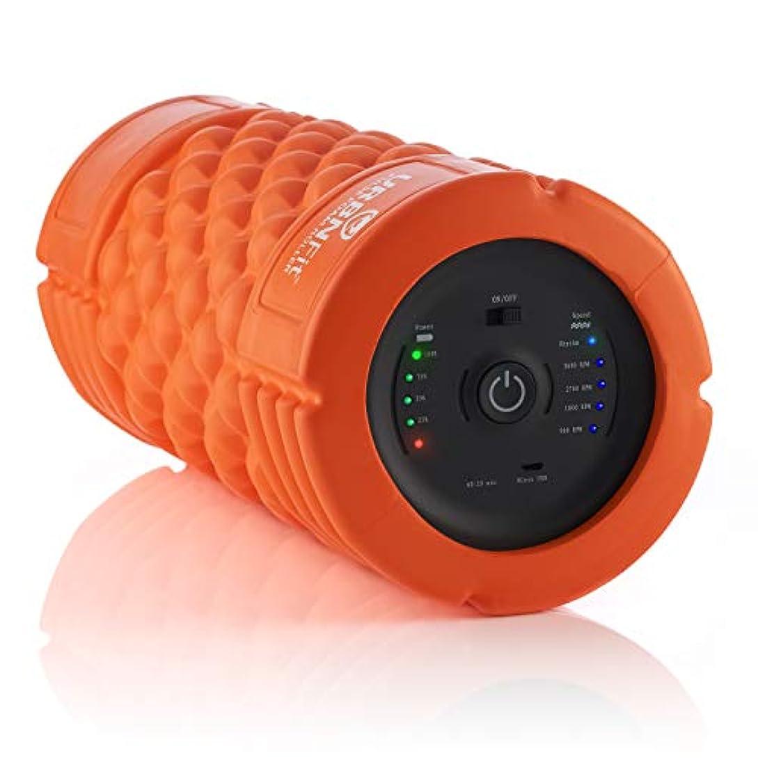 生活行列メナジェリー振動フォームローラー - 5速マッサージ器とローラー 筋肉回復用 深部組織トリガーポイントマッサージセラピー - 低から高強度マッサージ ワークアウト用 - ストレッチガイド付き