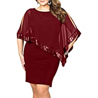 Lalagen Womens Sequins Cape Overlay Plus Size Bodycon Party Cocktail Pencil Dress 1X-4X