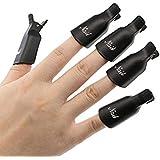 Bullidea 10x Plastic Acrylic Nail Art Tool Soak Off Cap UV Gel Polish Remover Wrap (Black)-Pack of 10