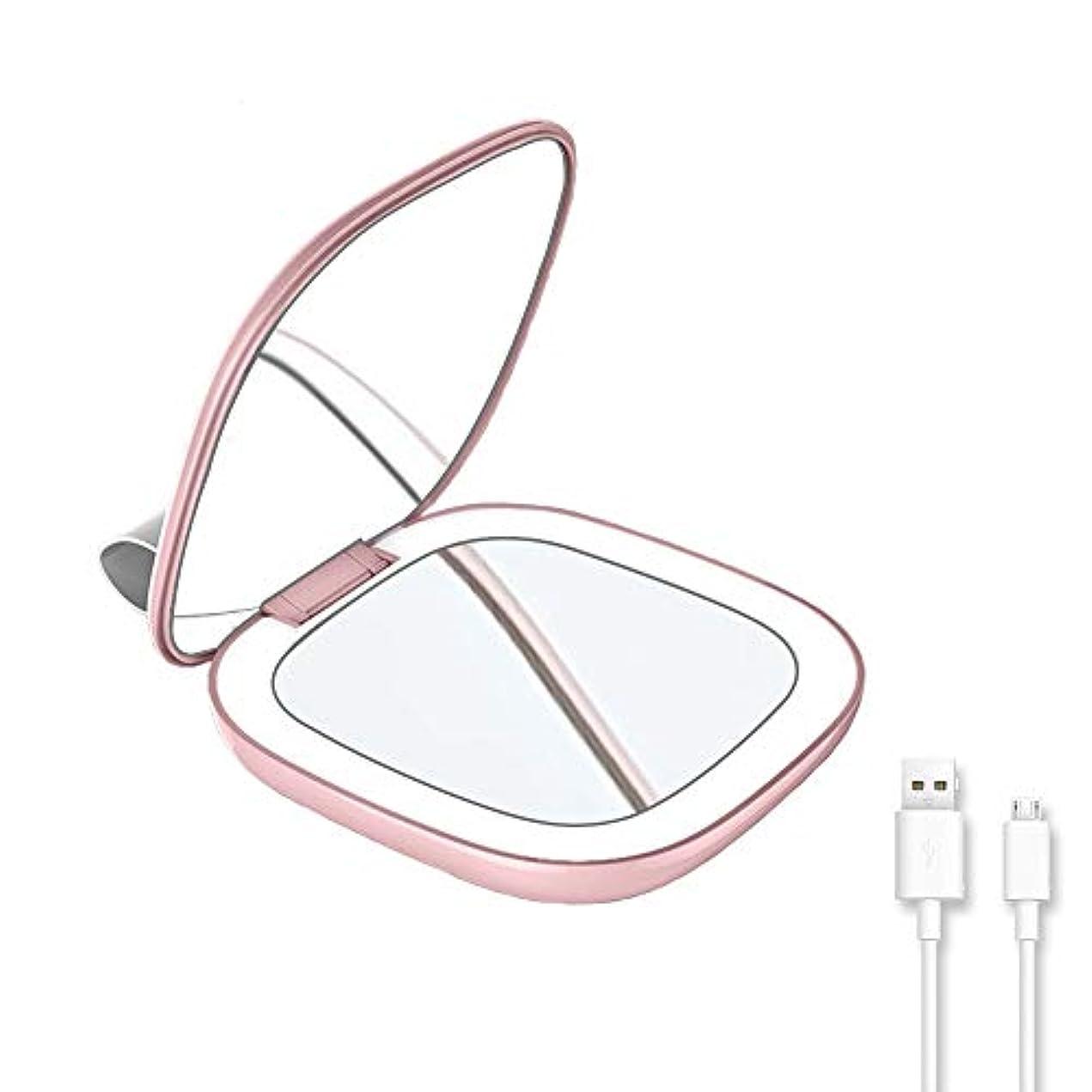 はがきベルト皮肉LAOPAO ポケットミラー 折り立てミラー led付きコンパクトミラー 拡大鏡 3倍 旅行化粧鏡 明るさ調節可能 130°回転 USB充电 持ち運びが簡単(ライトピンク)