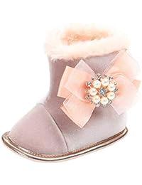 C-Princess ベビー 靴 ムートンブーツ スノーブーツ ファーストシューズ 雪靴 裏ボア 暖かい 子供 キッズ 女の子 ガールズ リボン付き 可愛い 秋冬 ピンク 13cm