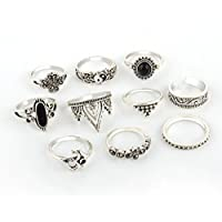 VPbao 10pcs Women Retro Ring Set Carved Rings Jewellery