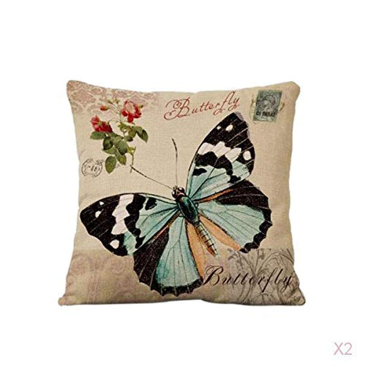 スキー鉱石ユーザーFLAMEER 蝶の綿の腰投げ枕カバーソファのクッションカバー家の装飾#2