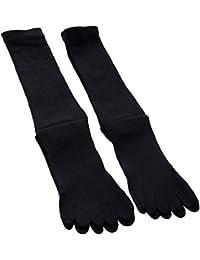 (2足組)紳士小さいサイズ靴下 丈夫で長持ち メンズ5本指ミドル丈ソックス 紳士ビジネス5本指ソックス 黒2足セット 24cm~26cm  …