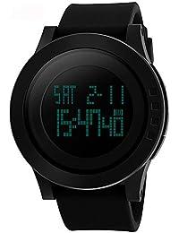 Vemupohal デジタル腕時計 メンズ ストップウォッチ カウントダウン付き アラーム 50M防水 シリコンベルト 超軽い ジョギング LED 学生 大文字盤 日本語取扱説明書付き