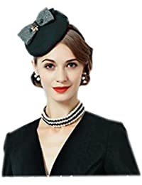 【ノーブランド品】 レディースリボン付きブラックベレー帽 カチューシャタイプ