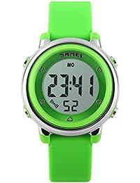 キッズ腕時計 防水 アラーム デジタル表示 七彩LEDバックライト カレンダー ボーイズ ガールズ ギフト グリーン