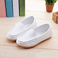 Children Shoes PU Leather Soft Comfortable Loafers Slip Kids Shoes, Size:32(White) Children Shoes (Color : White)