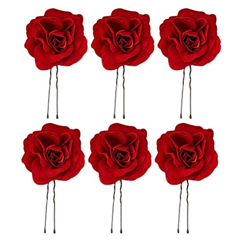 コア誤ってエピソードFrcolor ヘアピン Uピン バラ 玉付き 花髪飾り ウェディング 結婚式 ヘアアクセサリー ブライダル ヘッドドレス 6本セット(赤)