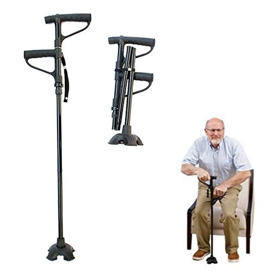 ストローロッドタンカー折りたたみ歩行杖、LEDライト付き高齢者折りたたみ杖、Tハンドル付き松葉杖付き調整可能な杖