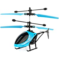 ALLCACA 2CH赤外線ヘリコプターハンドヘルド誘導ヘリコプター子供のための充電式USB赤外線センサーおもちゃ、屋内用、ライトブルーに適する